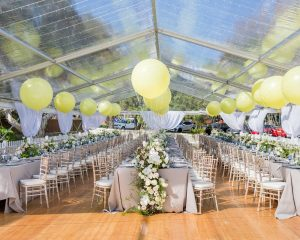 Event Marquees Sydney yellow balloons