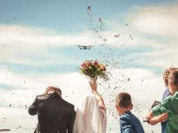 Drone in use for wedding photography