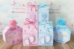 Lila Custom Party gender reveal boxes