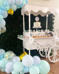 Beautiful Beginnings Party Hire cart and balloons