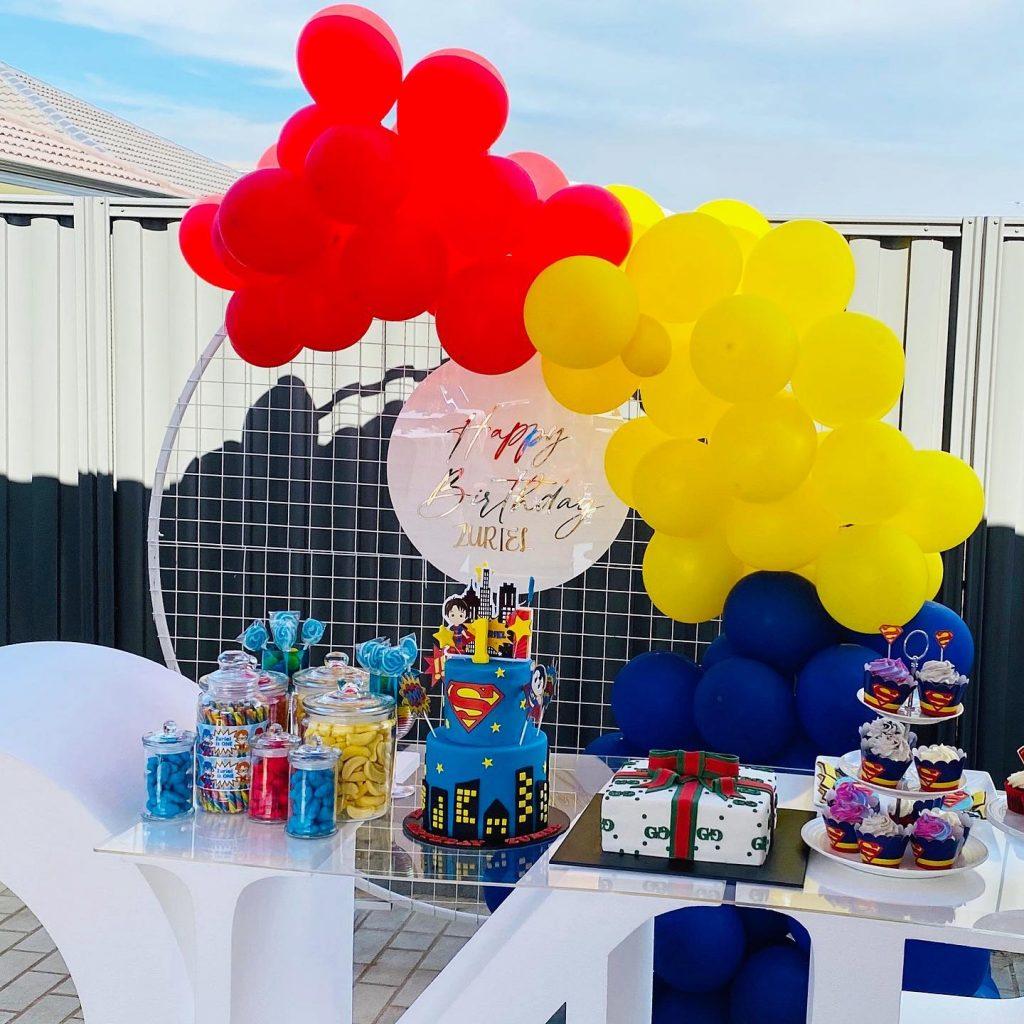 Beautiful Beginnings Party Hire superhero setup