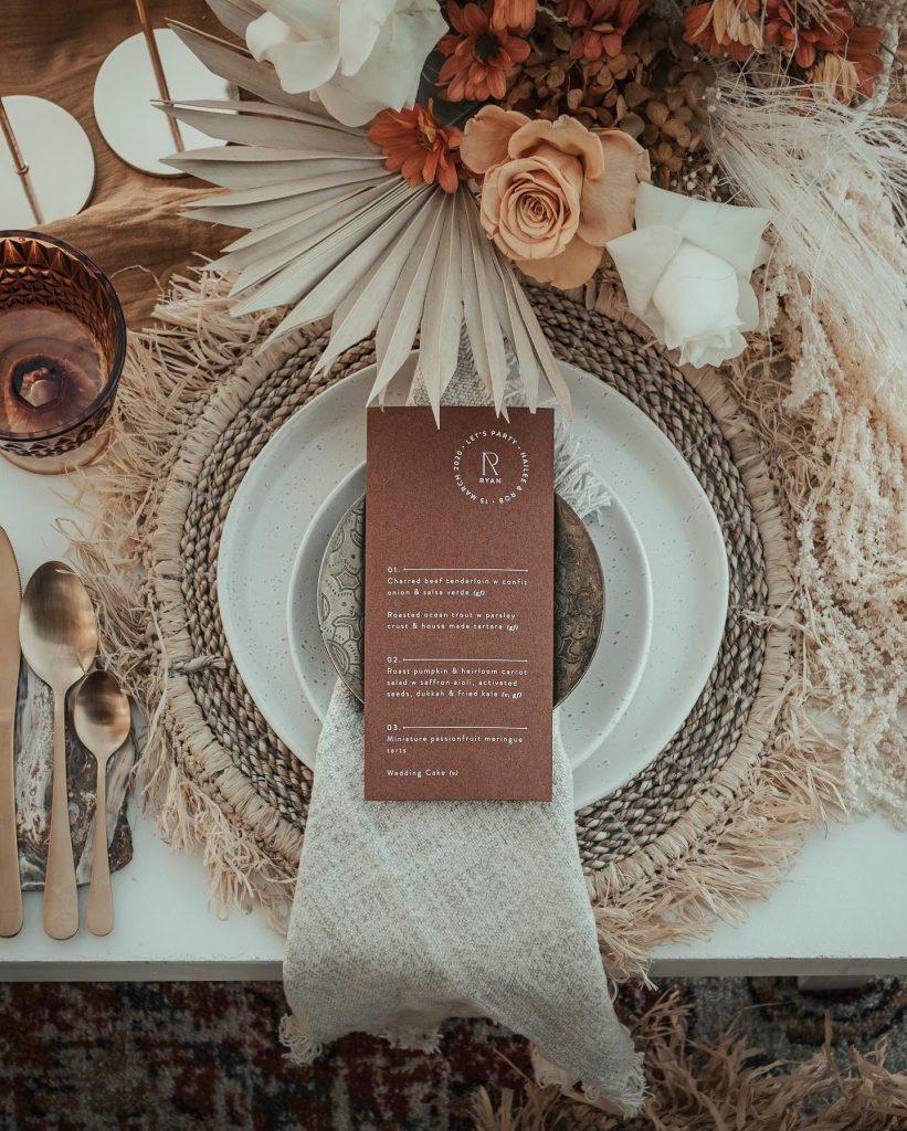 Blossie wedding menu
