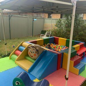 Monkey Play Mobile Play Centre backyard setup