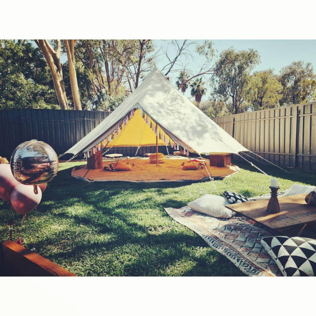 tent pegs backyard