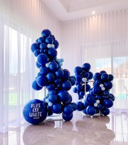 The Little Big Balloon Co blue and white