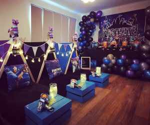 GlampCamp Parties Fortnite theme