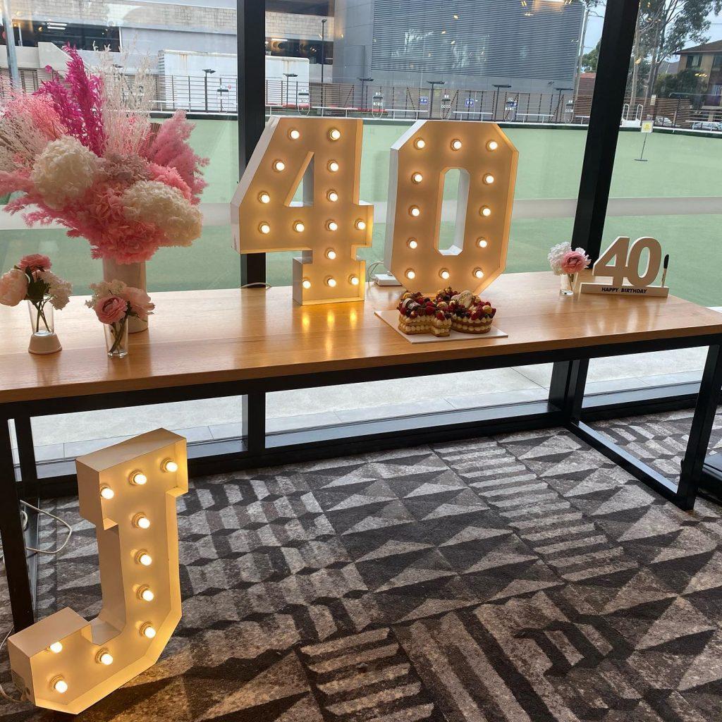 Shine Bright Letters 40th birthday